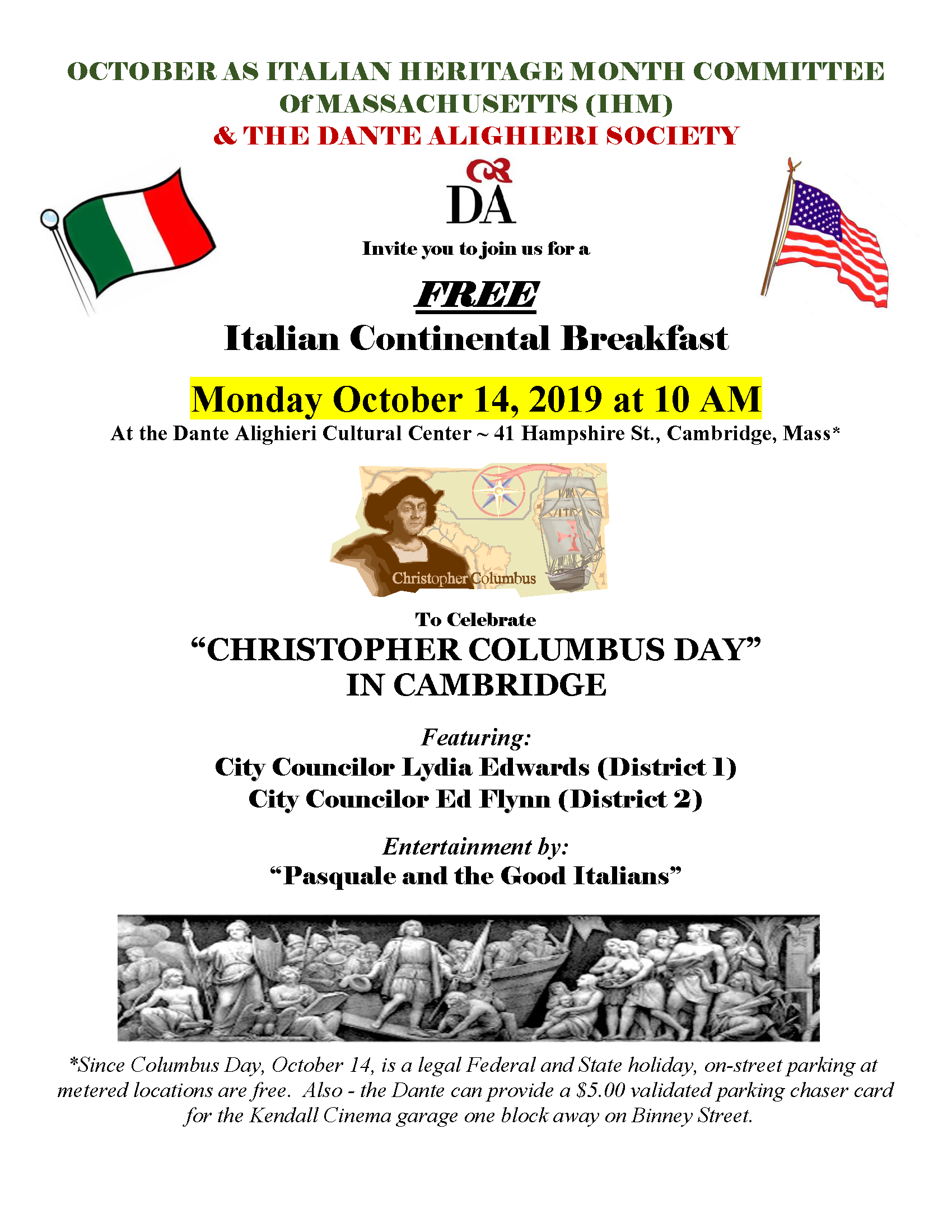 October 14, 2019 - Columbus Day Breakfast flier
